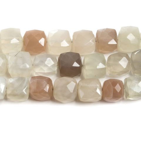High quality 7-7.5mm Cream & Brown Moonstone faceted cube beads 8 inch 27 pieces - Buy From The Bead Traders Online Store.