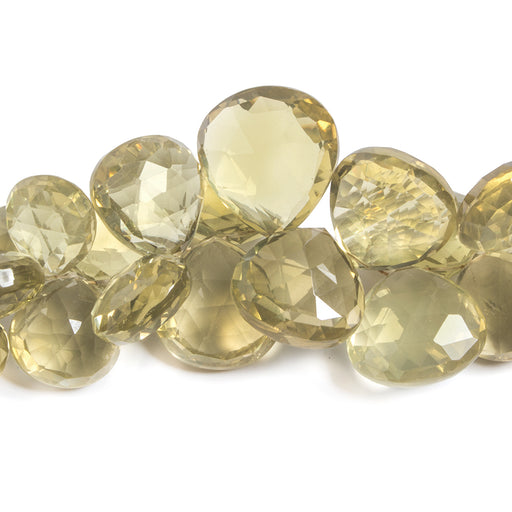 12-21mm Lemon Quartz Heart Briolette Beads 8 inch 41 pieces