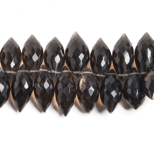 Smoky Quartz Faceted 15-20mm Top Drilled Puffy Marquise