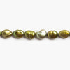 Bronze Green Baroque Straight Drilled flat sided Freshwater Pearls 16 inch 40 pieces 7x7mm - 7x10mm