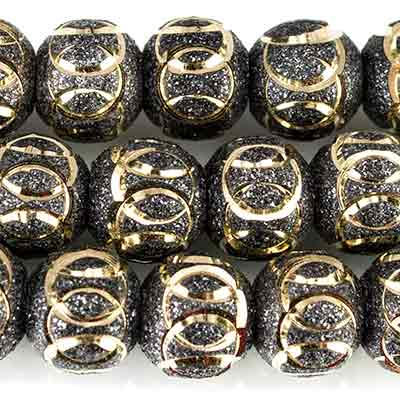 "Two Tone Brass Round 8mm Stardust Bead Diamond Cut Elipses, 8"" length, 28 pcs"