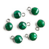 7mm Silver Bezeled Dark Green Quartz Coin Pendant 1 piece