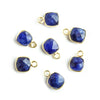 7mm Vermeil Bezeled Dark Blue Quartz Square Pendants Set of 4 pieces