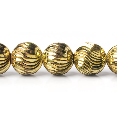 12mm Brass Fluted Round Beads, 8 inch