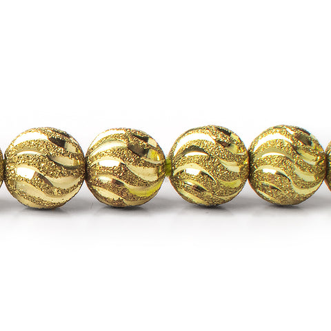 Brass Bead Round Textured Sparkle with Shiny Waves 10mm