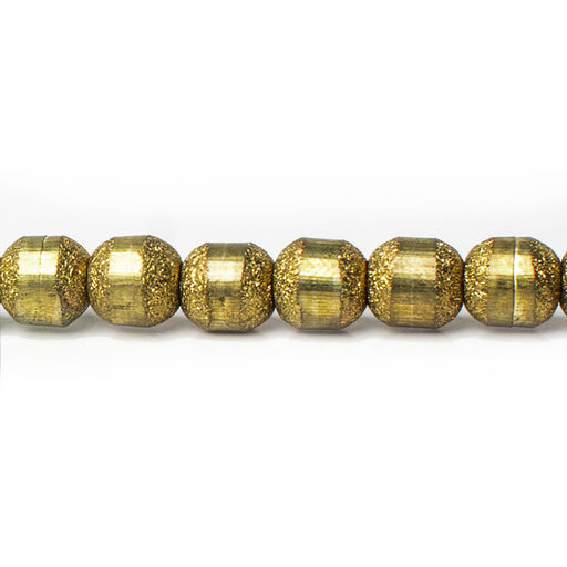 6mm Brass Barrel Textured and Smooth Beads, 8 inch