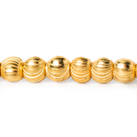 5mm 22kt Gold Plated Brass Diamond Cut Round Beads, 8 inch, 43 beads