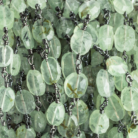 8x7mm-9x8mm Prehnite Faceted Oval Black Gold Chain by the Foot 19 pieces
