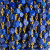 7x6mm Lapis Lazuli Faceted Nugget Gold Chain by the Foot 22 pieces