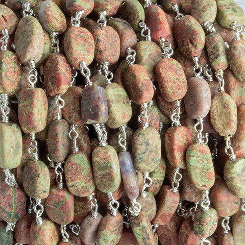 9.5x5.5mm-12x6mm Unakite Plain Oval Silver Chain by the Foot 21 pieces