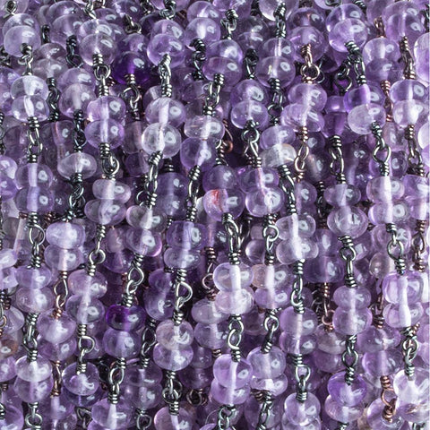 4.5mm-5mm Amethyst Double Plain Rondelle Black Gold Chain by the Foot 54 pieces