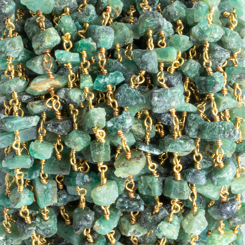 6x4mm-9x5.5mm Emerald Chips Gold Chain by the Foot 31 pieces