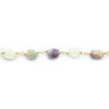 7x6mm-12.5x7mm Fluorite Plain Nugget Gold plated Chain by the foot 19 pieces