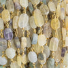 9x5.5mm-10x6.5mm Fluorite Plain Nugget Gold Chain by the Foot 19 pieces