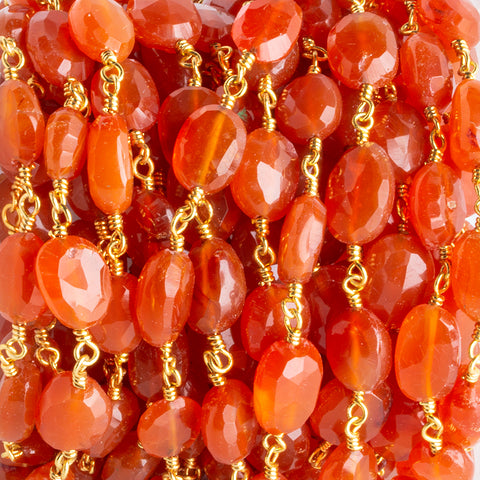 9x7.5mm-12x9.5mm Carnelian Faceted Ovals Gold plated Chain by the foot 17 pieces