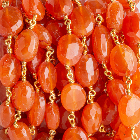 12.5x9.5mm-14.5x10mm Carnelian Faceted Oval Gold Chain by the Foot 15 pieces