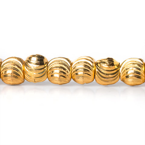 22kt Gold Plated Brass Beads 5mm Rounds Shiny with Curved Grooves
