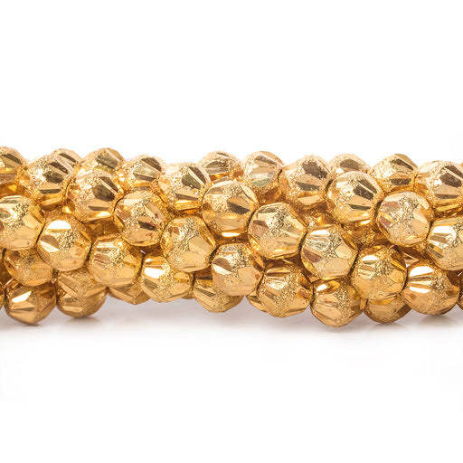 5mm 22kt Gold Plated Brass Fluted Round Beads, 8 inch, 43 beads