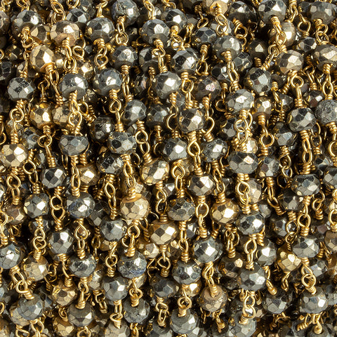 4mm Heavily Gold plated Pyrite & Pyrite Gold plated Chain by the foot