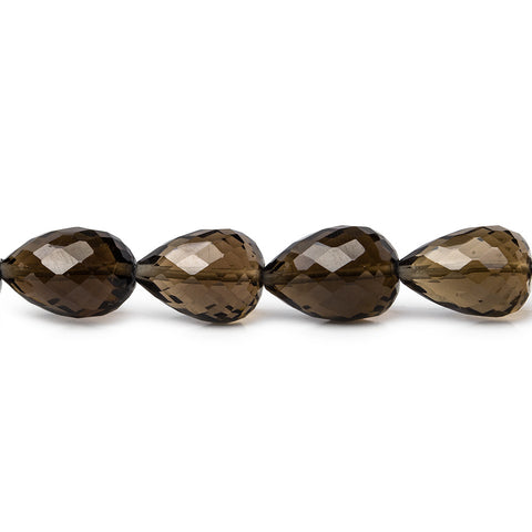 Top quality 10x8-12x7mm Smoky Quartz straight drilled faceted teardrop 8 inch 18 pieces - Buy From The Bead Traders Online Store