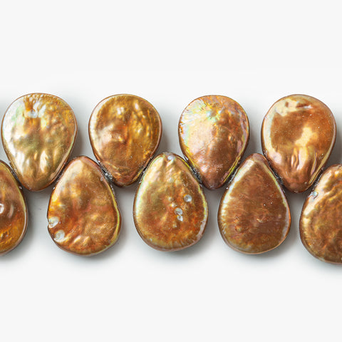 Iridescent Copper Freshwater Pearls Top Drilled Flat Pears