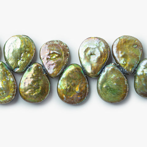 Iridescent Sage Freshwater Pearls Top Drilled Flat Pears