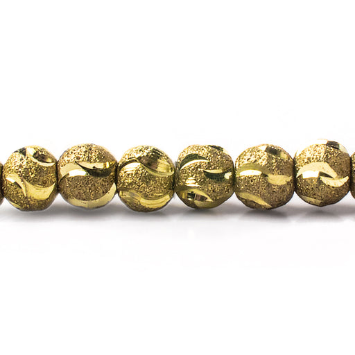 "Brass Round 6mm Stardust Bead Diamond Cut Waves, 8"" length, 39 pcs"