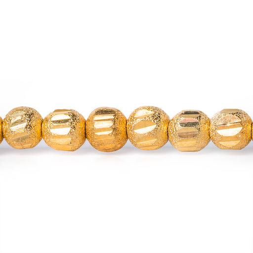5mm 22kt Gold Plated Brass Stardust Diamond Cut Round Beads, 8 inch, 43 beads