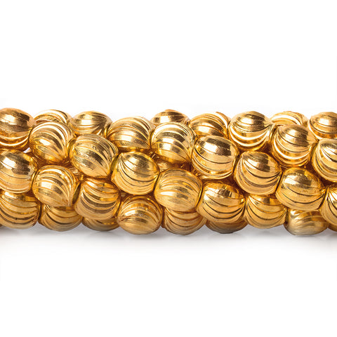 4mm 22kt Gold Plated Brass Diamond Cut Rounds Beads