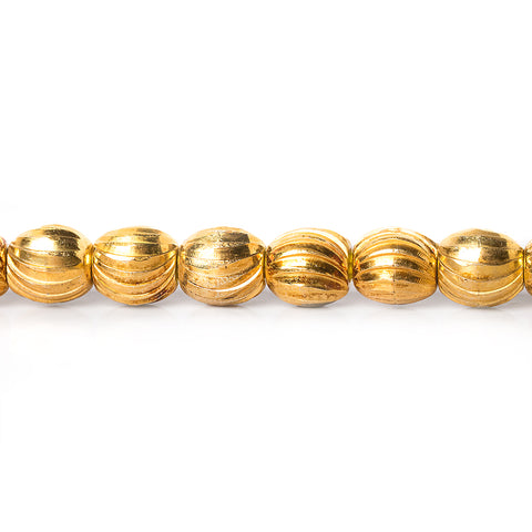 6mm 22kt Gold Plated Brass Scallop Ovals Beads, 8 inch, 37 beads