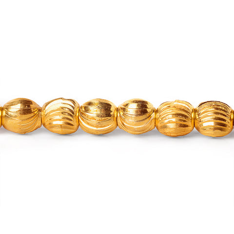 7mm 22kt Gold Plated Brass Scallop Oval Beads