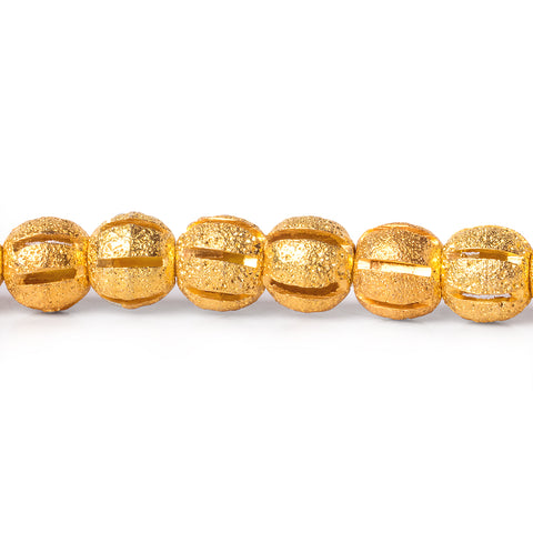 6mm 22kt Gold Plated Brass Stardust Striped Round Beads, 8 inch, 37 beads