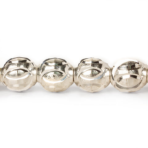 9mm Sterling Silver Plated Brass Interlocking Circle Round Beads, 8 inch