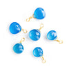 12x7mm-14x8mm Santorini Blue Chalcedony Faceted Heart Wire Wrapped Focal Pendant 1 Piece