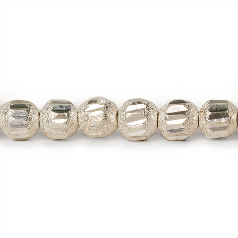 5mm Sterling Silver Plated Brass Stardust Round Beads, 8 inch