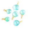12x7.5mm-14.5x9.5mm Seafoam Blue Chalcedony Faceted Heart Wire Wrapped Focal Pendant 1 Piece