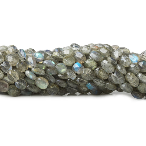 6x5-8x6mm Labradorite Straight Drill Faceted Ovals 14 inch 55 beads