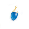 18x7mm-20x9mm Gold Leafed Santorini Blue Chalcedony Faceted Marquise Focal Pendant 1 Piece