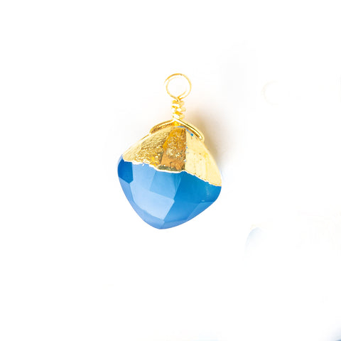 14x9mm-15x9.5mm Gold Leafed Santorini Blue Chalcedony Faceted Pillow Focal Pendant 1 Piece