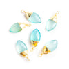 19x8 Gold Leafed Seafoam Blue Chalcedony Faceted Marquise Focal Pendant 1 Piece