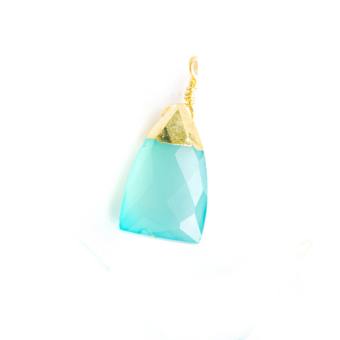 20x9mm Gold Leafed Seafoam Blue Chalcedony Faceted Triangle Focal Pendant 1 Piece