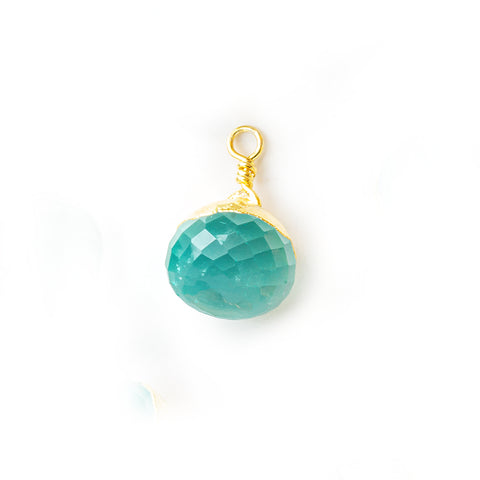 13x9mm Gold Leafed Seafoam Blue Chalcedony Faceted Candy Kiss Focal Pendant 1 Piece