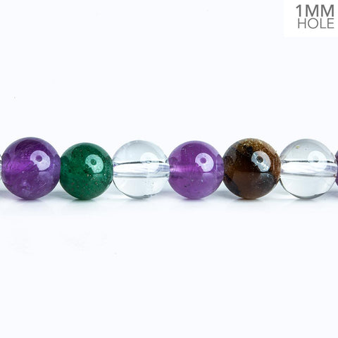 7.5mm Multi Gemstone Plain Round Beads 16 inch 57 pieces