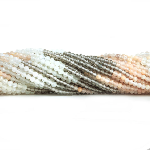 1.8mm-2.3mm Multi Moonstone Micro Faceted Round Beads 13 inch 157 pieces