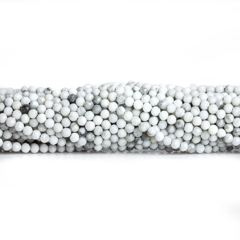 2.5mm Howlite Micro Faceted Round Beads 12.5 inch 130 pieces