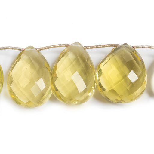 22-25mm Lemon Quartz Pear Briolette Beads 8 inch 11 pieces