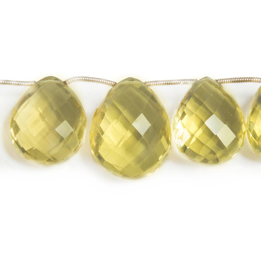 15-22mm Lemon Quartz Faceted Pear Briolette Beads 8 inch 14 pieces