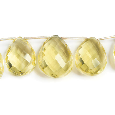 15-21mm Lemon Quartz Faceted Pear Briolette Beads 8 inch 14 pieces