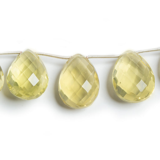 "Lemon Quartz Faceted Pear Briolette Beads, 8"" length, 12x9-23x16mm, 13 pcs"