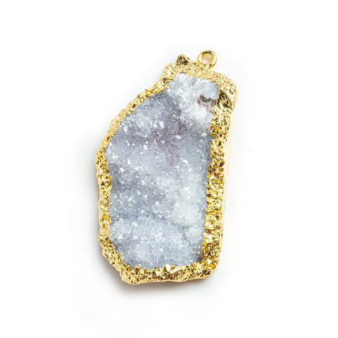 50x40x26mm Gold Leafed White Drusy Focal Pendant 1 piece